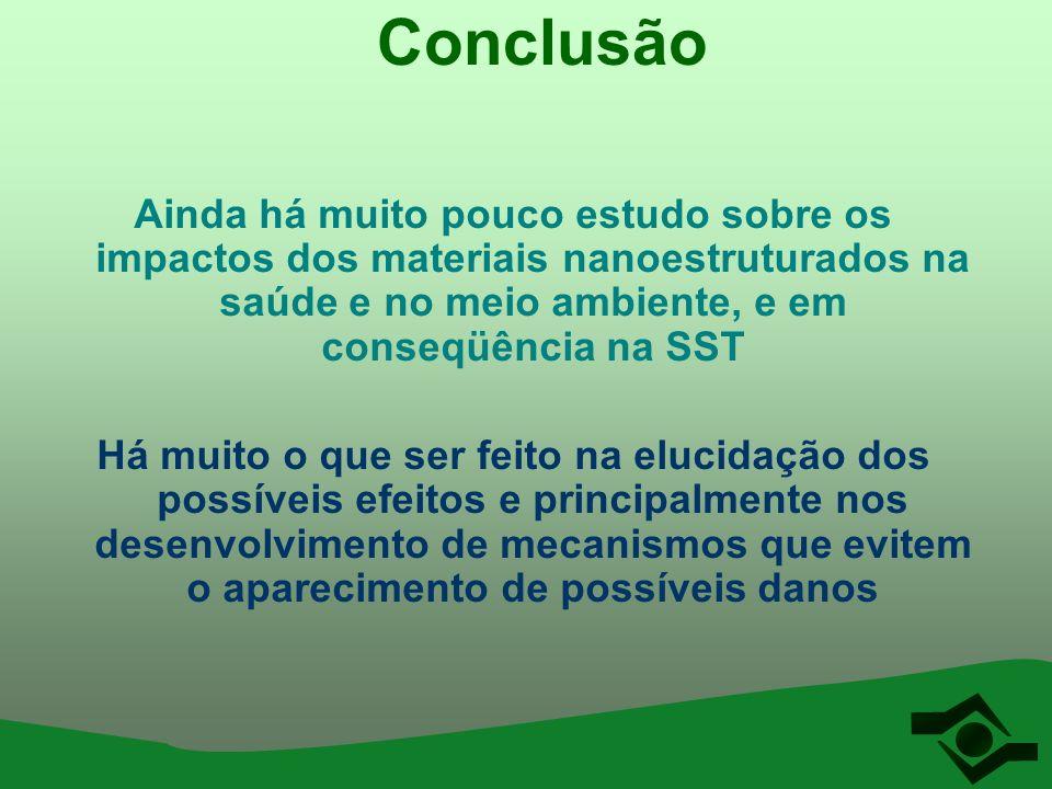 Conclusão Ainda há muito pouco estudo sobre os impactos dos materiais nanoestruturados na saúde e no meio ambiente, e em conseqüência na SST Há muito