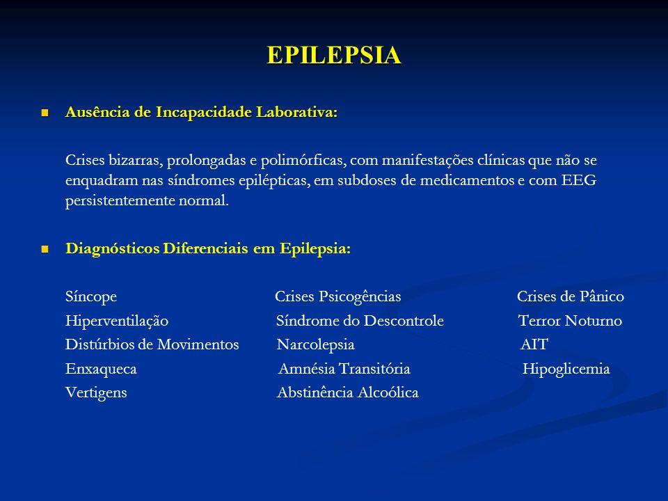 EPILEPSIA Ausência de Incapacidade Laborativa: Ausência de Incapacidade Laborativa: Crises bizarras, prolongadas e polimórficas, com manifestações clí
