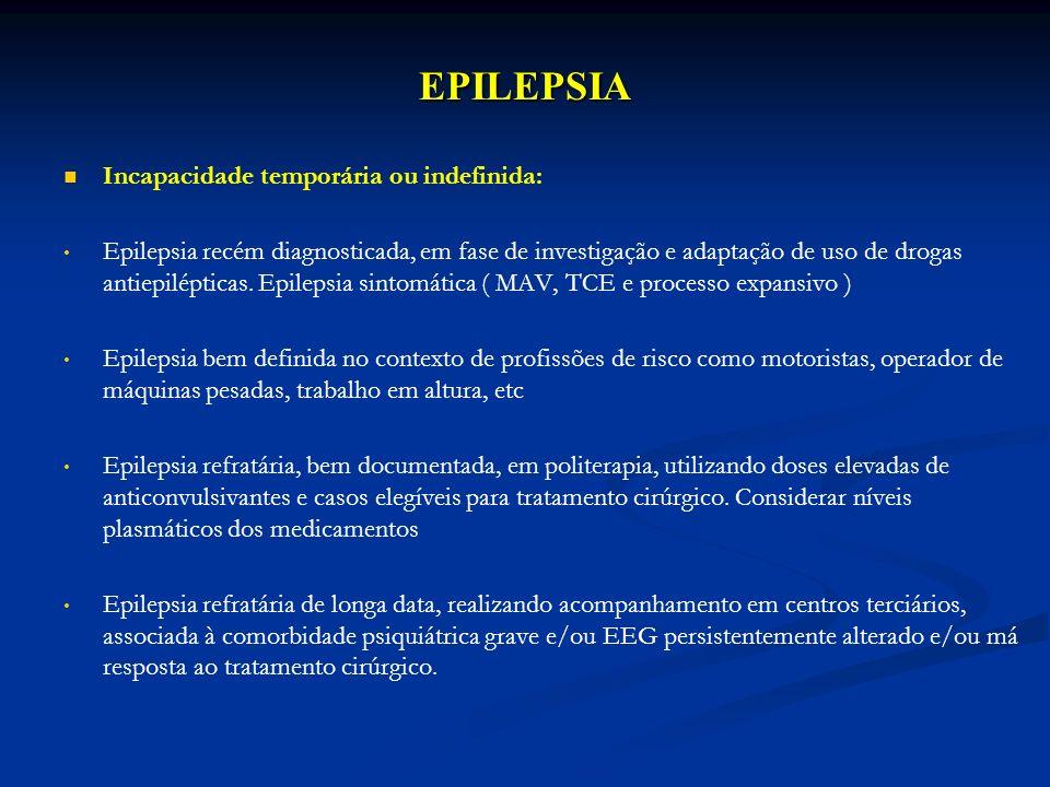 EPILEPSIA Incapacidade temporária ou indefinida: Epilepsia recém diagnosticada, em fase de investigação e adaptação de uso de drogas antiepilépticas.