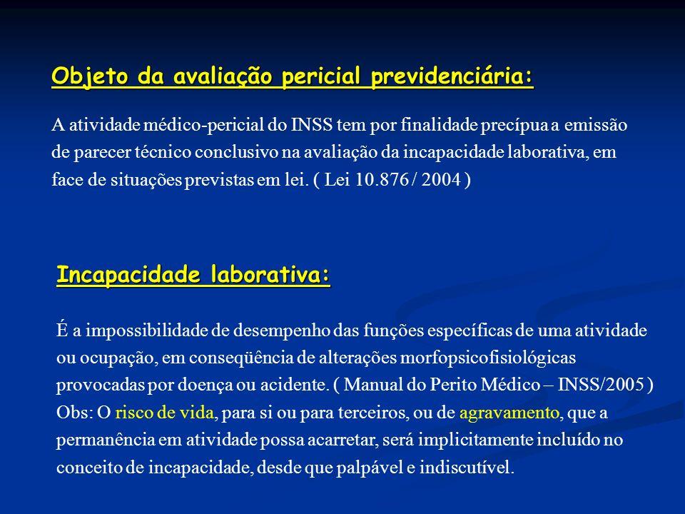 Objeto da avaliação pericial previdenciária: A atividade médico-pericial do INSS tem por finalidade precípua a emissão de parecer técnico conclusivo n