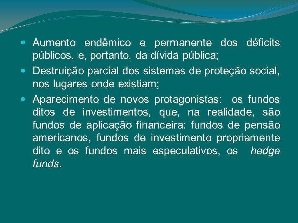 Aumento endêmico e permanente dos déficits públicos, e, portanto, da dívida pública; Destruição parcial dos sistemas de proteção social, nos lugares onde existiam; Aparecimento de novos protagonistas: os fundos ditos de investimentos, que, na realidade, são fundos de aplicação financeira: fundos de pensão americanos, fundos de investimento propriamente dito e os fundos mais especulativos, os hedge funds.