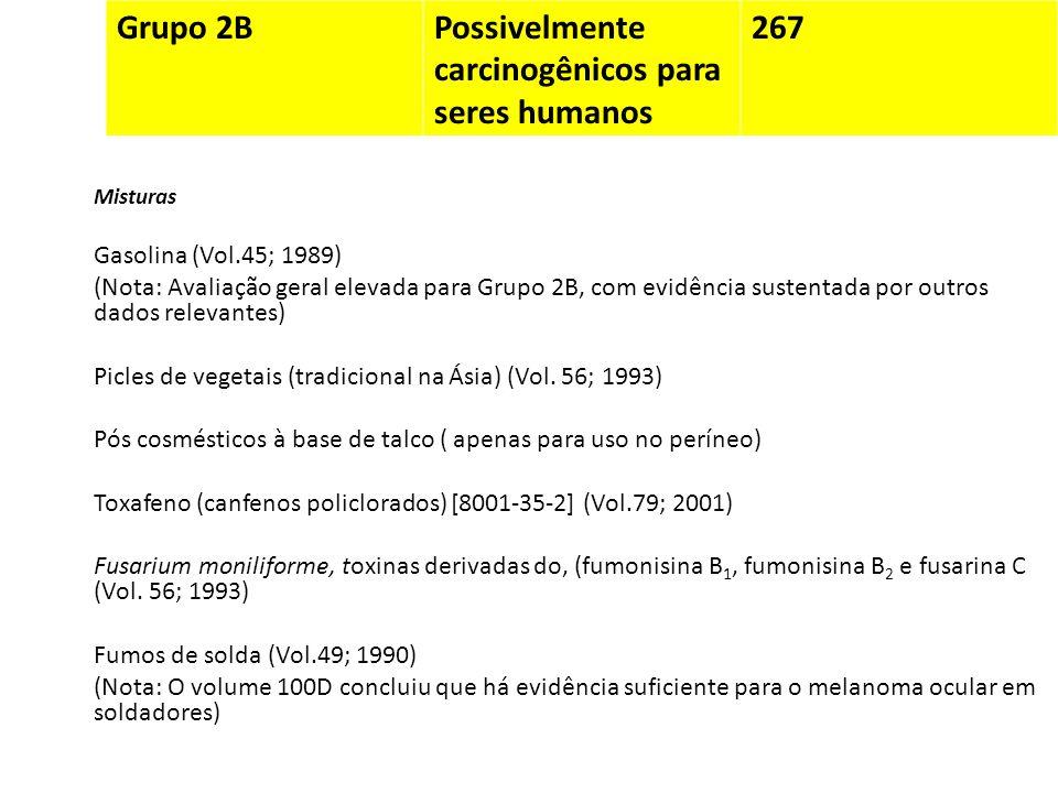 Grupo 2BPossivelmente carcinogênicos para seres humanos 267 Misturas Gasolina (Vol.45; 1989) (Nota: Avaliação geral elevada para Grupo 2B, com evidênc