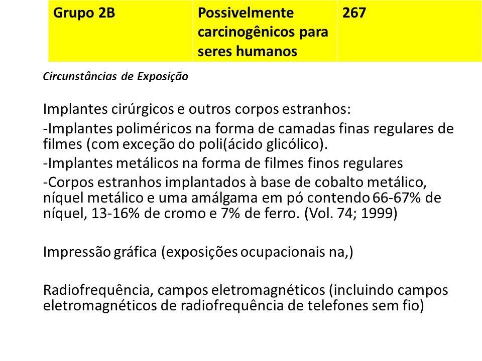 Grupo 2BPossivelmente carcinogênicos para seres humanos 267 Circunstâncias de Exposição Implantes cirúrgicos e outros corpos estranhos: -Implantes pol