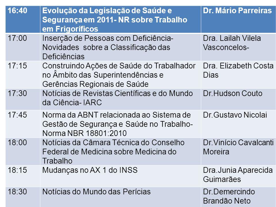 16:40Evolução da Legislação de Saúde e Segurança em 2011- NR sobre Trabalho em Frigoríficos Dr. Mário Parreiras 17:00Inserção de Pessoas com Deficiênc