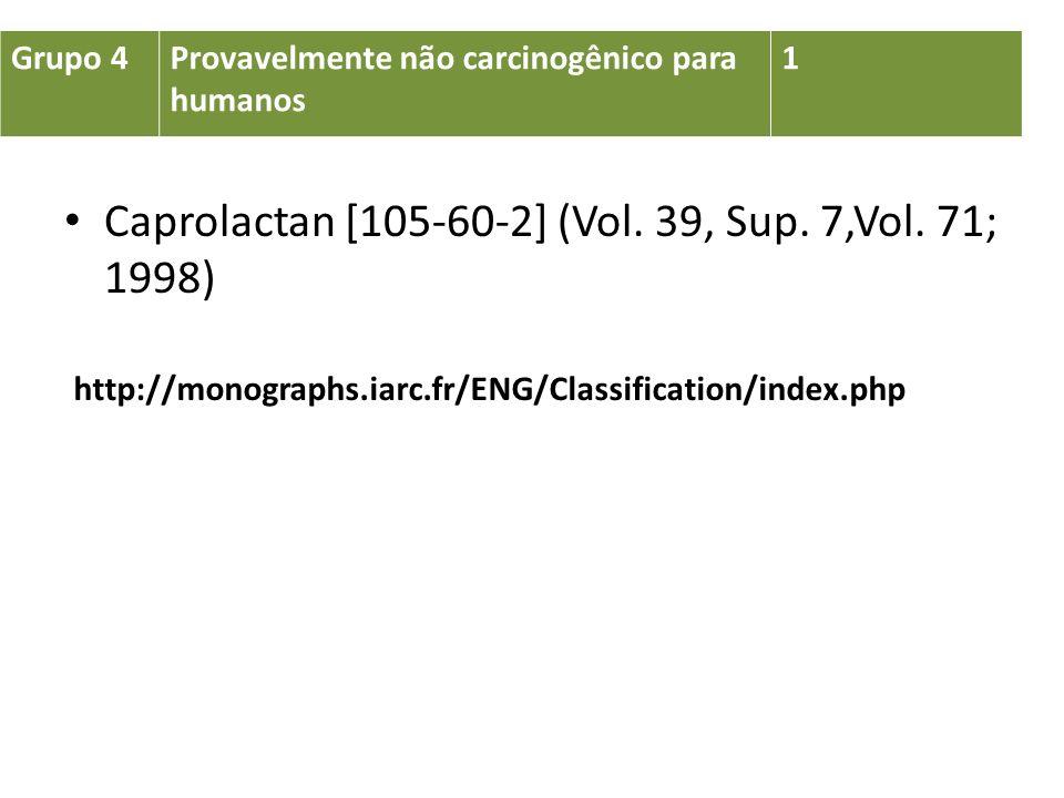 Grupo 4Provavelmente não carcinogênico para humanos 1 Caprolactan [105-60-2] (Vol. 39, Sup. 7,Vol. 71; 1998) http://monographs.iarc.fr/ENG/Classificat