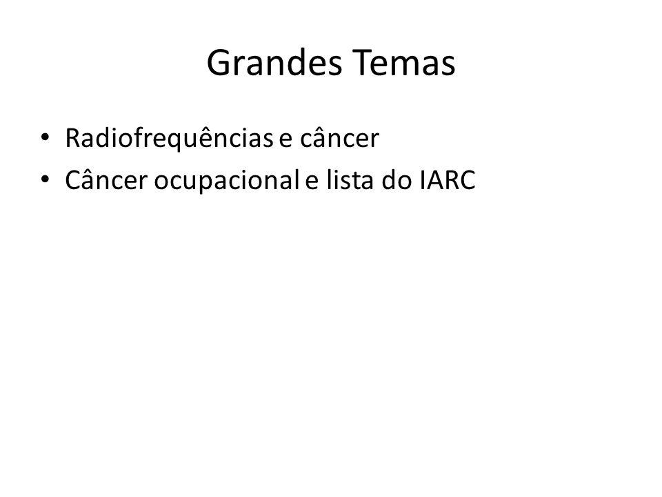 Grandes Temas Radiofrequências e câncer Câncer ocupacional e lista do IARC