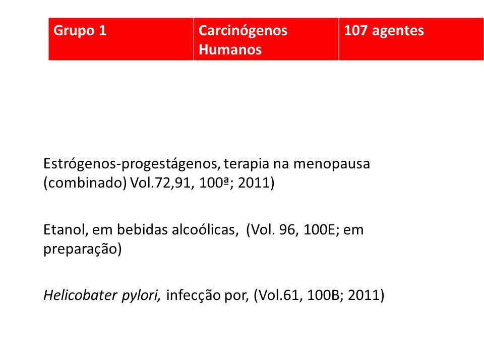 Estrógenos-progestágenos, terapia na menopausa (combinado) Vol.72,91, 100ª; 2011) Etanol, em bebidas alcoólicas, (Vol. 96, 100E; em preparação) Helico