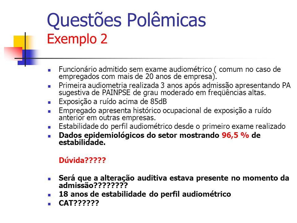 Questões Polêmicas Exemplo 2 Funcionário admitido sem exame audiométrico ( comum no caso de empregados com mais de 20 anos de empresa).