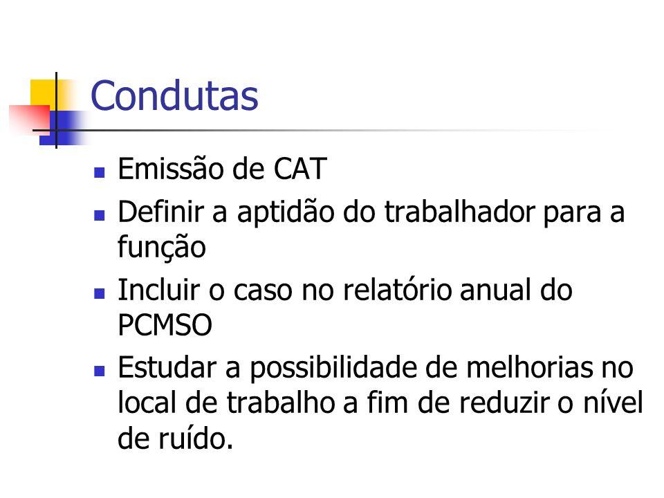 Condutas Emissão de CAT Definir a aptidão do trabalhador para a função Incluir o caso no relatório anual do PCMSO Estudar a possibilidade de melhorias no local de trabalho a fim de reduzir o nível de ruído.