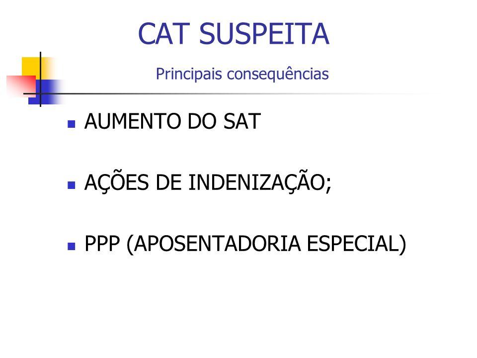 CAT SUSPEITA Principais consequências AUMENTO DO SAT AÇÕES DE INDENIZAÇÃO; PPP (APOSENTADORIA ESPECIAL)