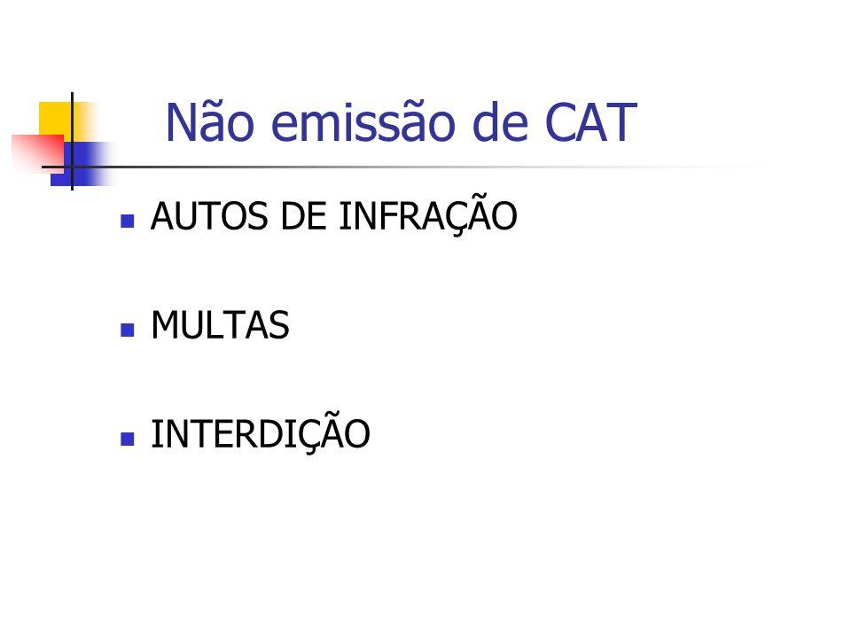 Não emissão de CAT AUTOS DE INFRAÇÃO MULTAS INTERDIÇÃO