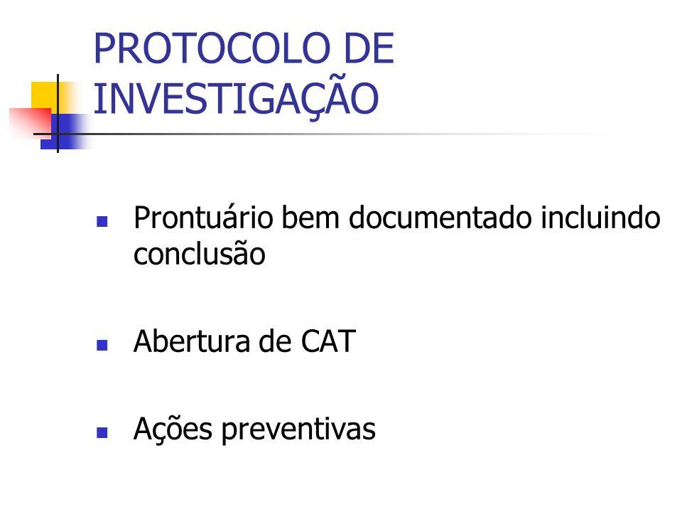 PROTOCOLO DE INVESTIGAÇÃO Prontuário bem documentado incluindo conclusão Abertura de CAT Ações preventivas