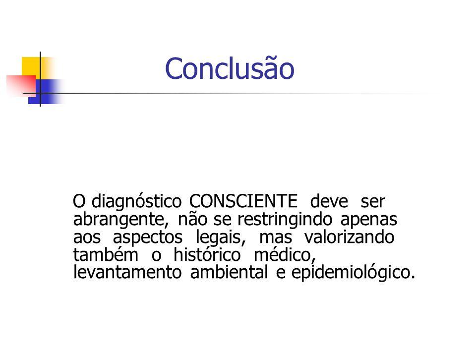 Conclusão O diagnóstico CONSCIENTE deve ser abrangente, não se restringindo apenas aos aspectos legais, mas valorizando também o histórico médico, levantamento ambiental e epidemiológico.