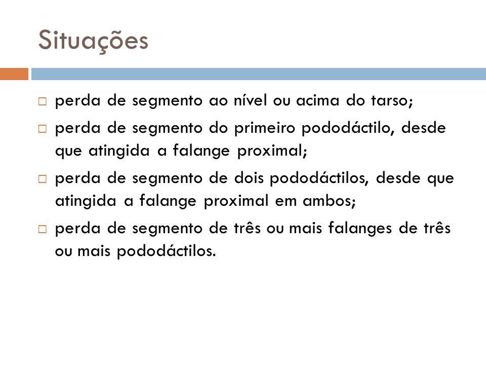 Situações perda de segmento ao nível ou acima do tarso; perda de segmento do primeiro pododáctilo, desde que atingida a falange proximal; perda de seg