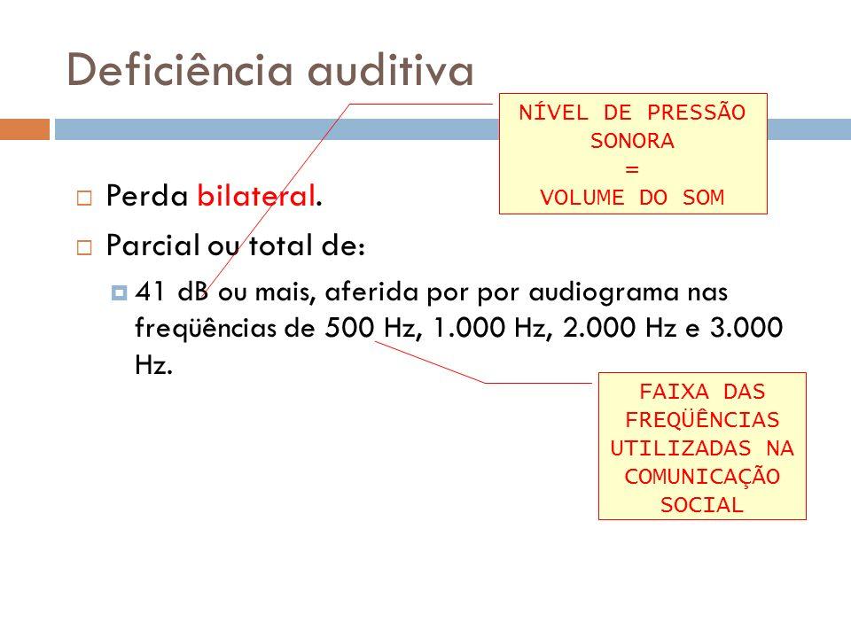 Deficiência auditiva Perda bilateral. Parcial ou total de: 41 dB ou mais, aferida por por audiograma nas freqüências de 500 Hz, 1.000 Hz, 2.000 Hz e 3