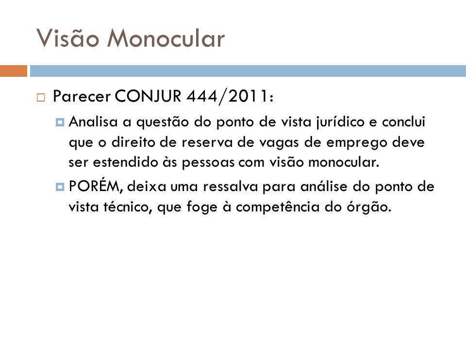 Visão Monocular Parecer CONJUR 444/2011: Analisa a questão do ponto de vista jurídico e conclui que o direito de reserva de vagas de emprego deve ser