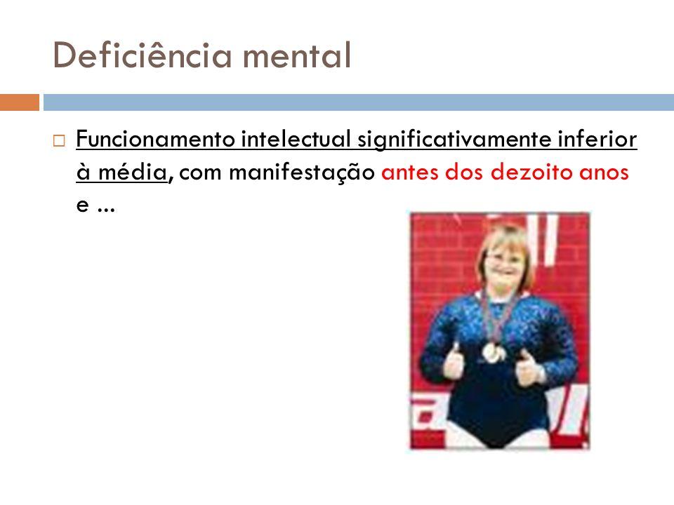 Deficiência mental Funcionamento intelectual significativamente inferior à média, com manifestação antes dos dezoito anos e...