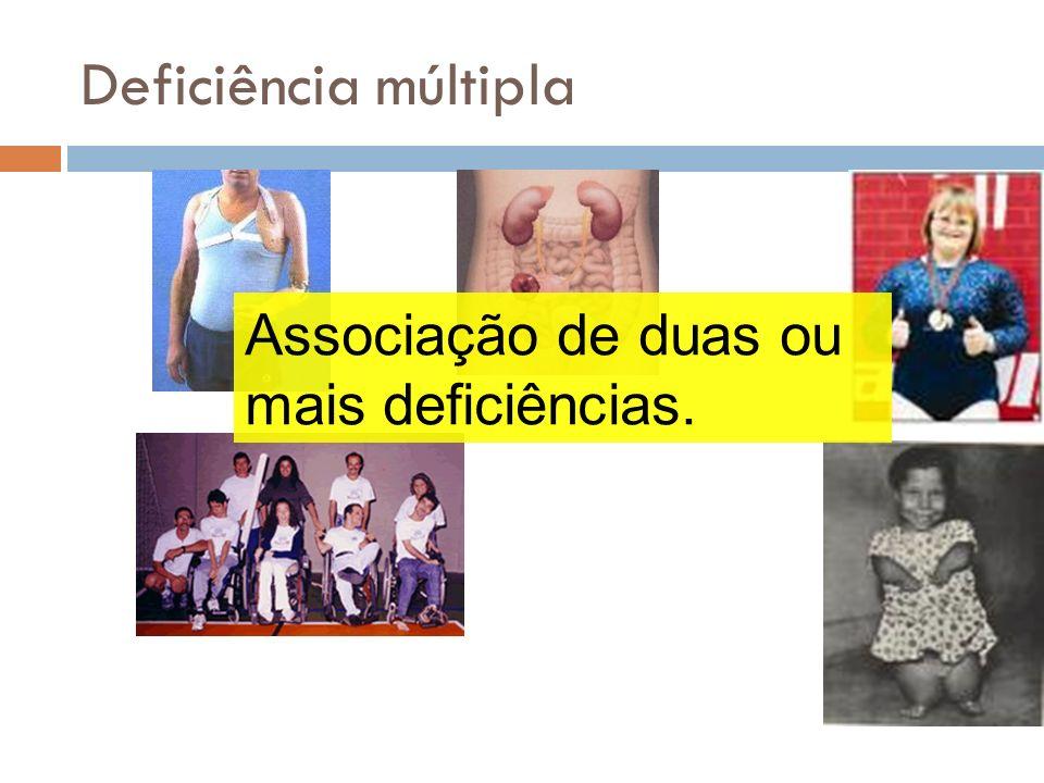 Deficiência múltipla Associação de duas ou mais deficiências.