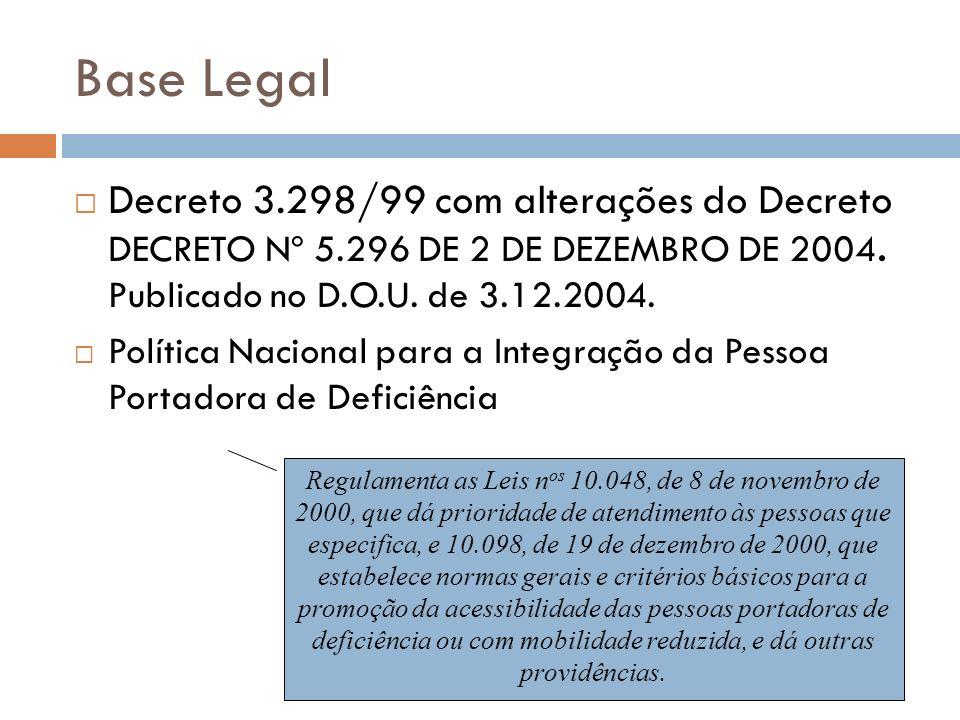 Base Legal Decreto 3.298/99 com alterações do Decreto DECRETO Nº 5.296 DE 2 DE DEZEMBRO DE 2004. Publicado no D.O.U. de 3.12.2004. Política Nacional p
