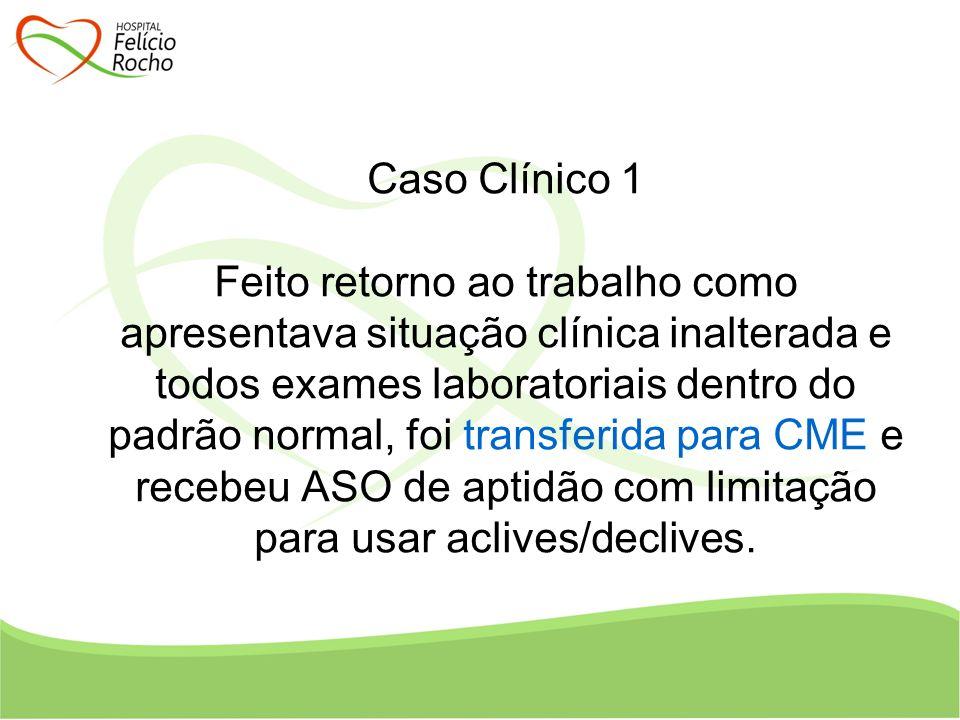 Caso Clínico 1 Feito retorno ao trabalho como apresentava situação clínica inalterada e todos exames laboratoriais dentro do padrão normal, foi transf