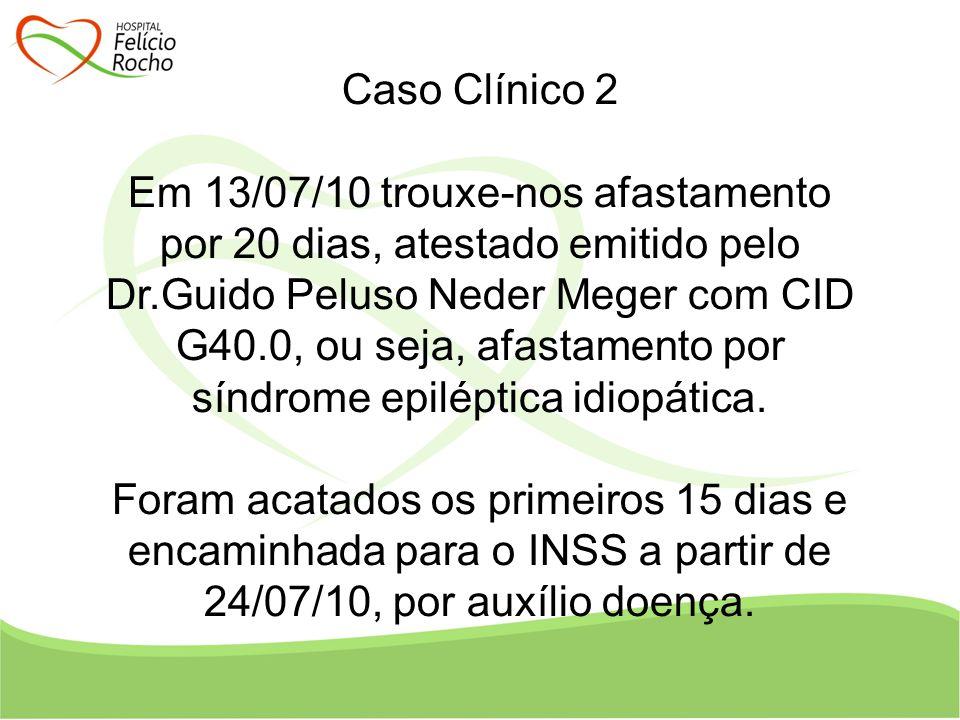 Caso Clínico 2 Em 13/07/10 trouxe-nos afastamento por 20 dias, atestado emitido pelo Dr.Guido Peluso Neder Meger com CID G40.0, ou seja, afastamento p