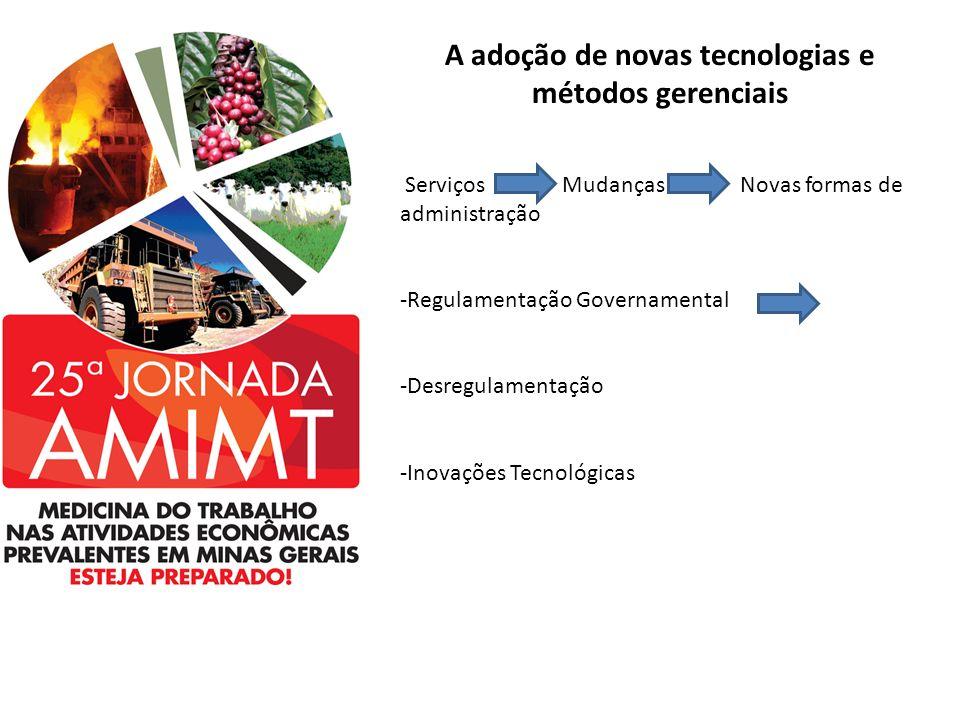 A adoção de novas tecnologias e métodos gerenciais Serviços Mudanças Novas formas de administração -Regulamentação Governamental -Desregulamentação -I
