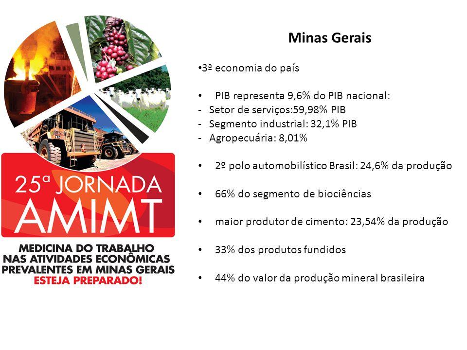 Minas Gerais 3ª economia do país PIB representa 9,6% do PIB nacional: - Setor de serviços:59,98% PIB - Segmento industrial: 32,1% PIB - Agropecuária: