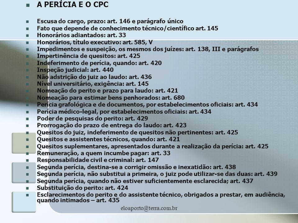 eloaporto@terra.com.br A PERÍCIA E O CPC Escusa do cargo, prazo: art. 146 e parágrafo único Fato que depende de conhecimento técnico/científico art. 1