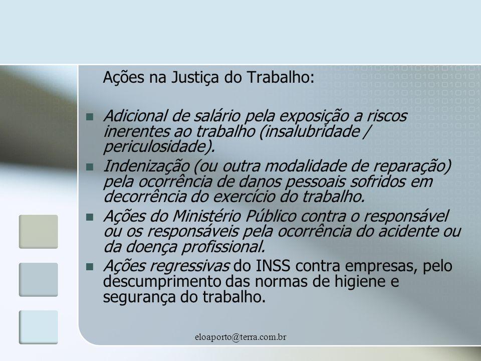 eloaporto@terra.com.br Ações na Justiça do Trabalho: Adicional de salário pela exposição a riscos inerentes ao trabalho (insalubridade / periculosidade).