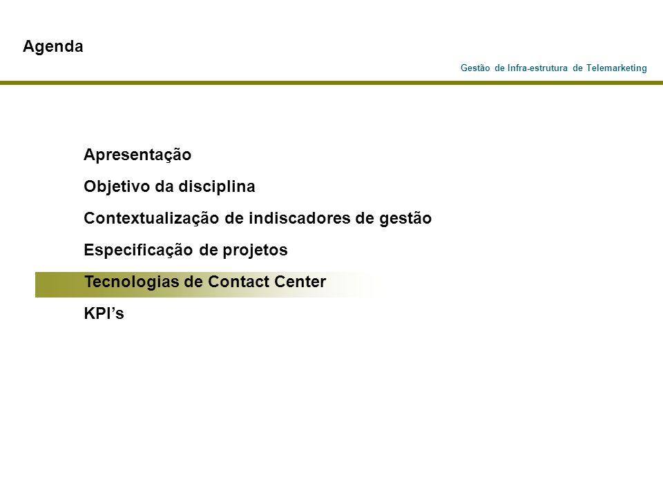 Gestão de Infra-estrutura de Telemarketing Agenda Apresentação Objetivo da disciplina Contextualização de indiscadores de gestão Especificação de proj