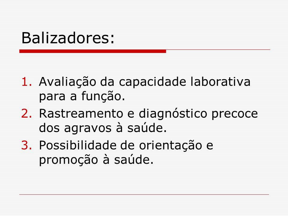 Balizadores: 1.Avaliação da capacidade laborativa para a função. 2.Rastreamento e diagnóstico precoce dos agravos à saúde. 3.Possibilidade de orientaç