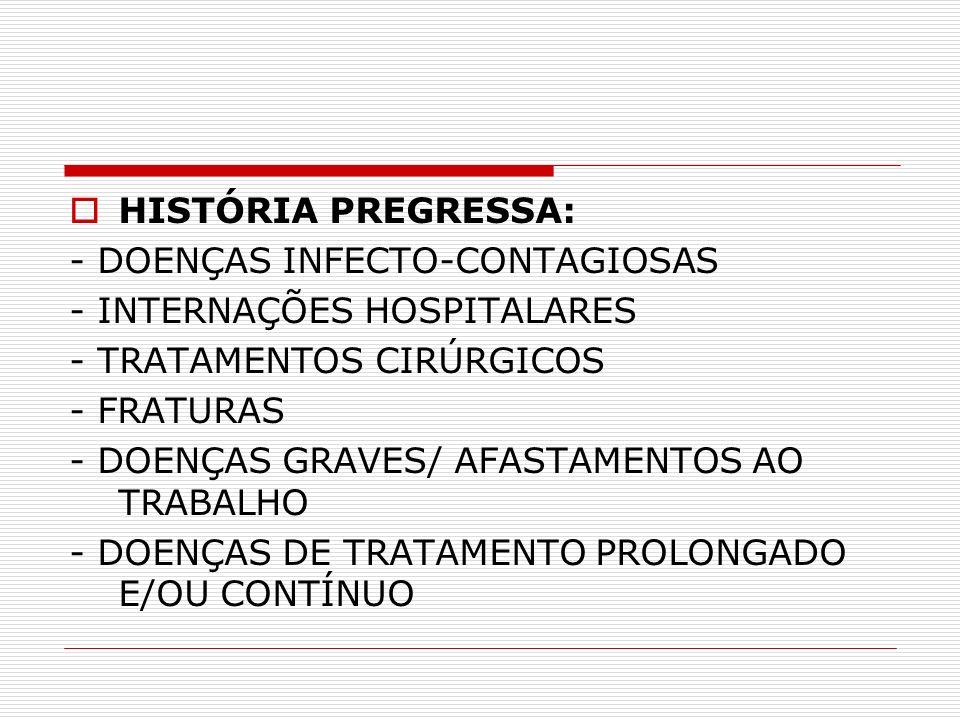 HISTÓRIA PREGRESSA: - DOENÇAS INFECTO-CONTAGIOSAS - INTERNAÇÕES HOSPITALARES - TRATAMENTOS CIRÚRGICOS - FRATURAS - DOENÇAS GRAVES/ AFASTAMENTOS AO TRA