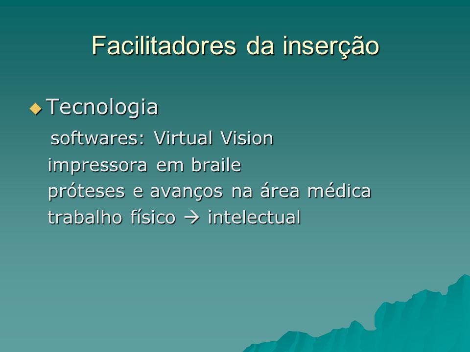 Facilitadores da inserção Tecnologia Tecnologia softwares: Virtual Vision softwares: Virtual Vision impressora em braile impressora em braile próteses