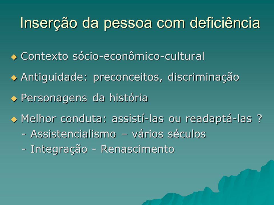 Inserção da pessoa com deficiência Contexto sócio-econômico-cultural Contexto sócio-econômico-cultural Antiguidade: preconceitos, discriminação Antigu