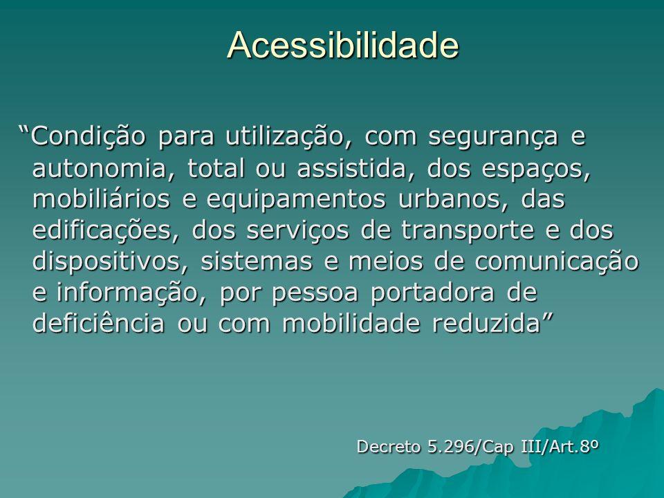 Acessibilidade Condição para utilização, com segurança e autonomia, total ou assistida, dos espaços, mobiliários e equipamentos urbanos, das edificaçõ