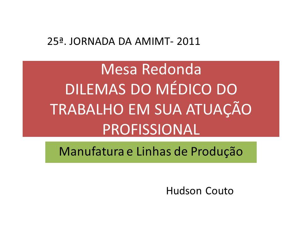 Mesa Redonda DILEMAS DO MÉDICO DO TRABALHO EM SUA ATUAÇÃO PROFISSIONAL Manufatura e Linhas de Produção 25ª. JORNADA DA AMIMT- 2011 Hudson Couto