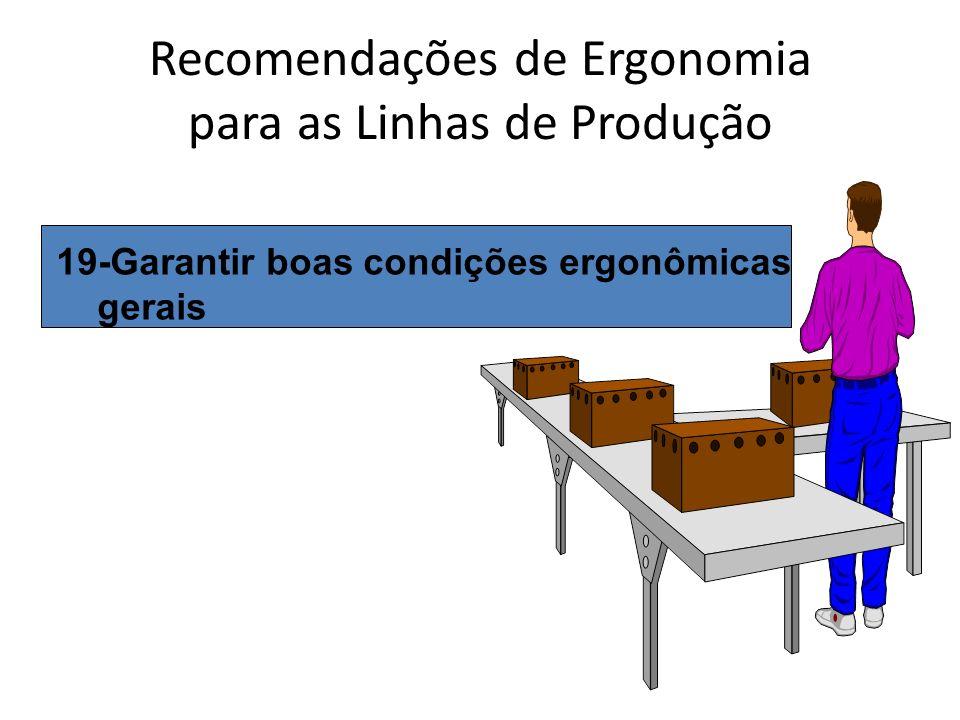 Recomendações de Ergonomia para as Linhas de Produção 19-Garantir boas condições ergonômicas gerais