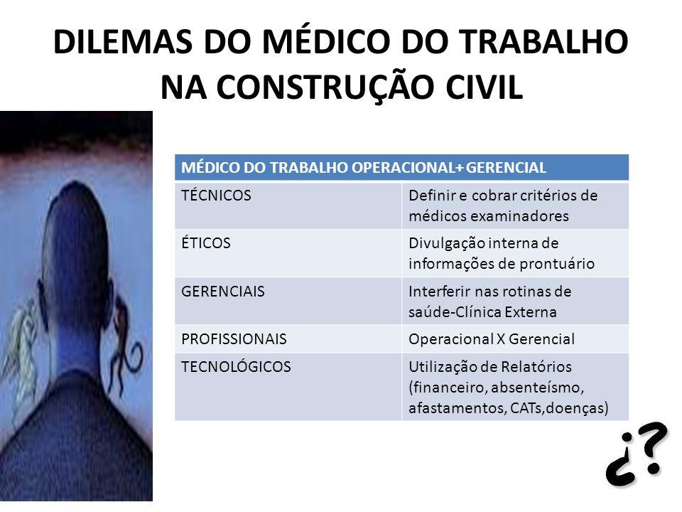 DILEMAS DO MÉDICO DO TRABALHO NA CONSTRUÇÃO CIVIL MÉDICO DO TRABALHO OPERACIONAL+ GERENCIAL TÉCNICOSDefinir e cobrar critérios de médicos examinadores