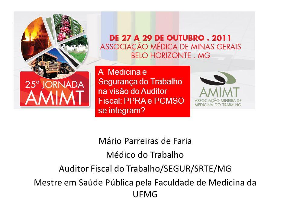 Mário Parreiras de Faria Médico do Trabalho Auditor Fiscal do Trabalho/SEGUR/SRTE/MG Mestre em Saúde Pública pela Faculdade de Medicina da UFMG A Medi