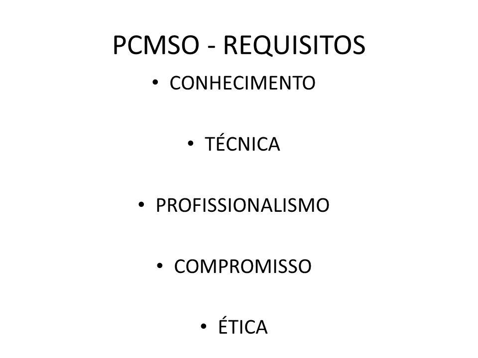 PCMSO - REQUISITOS CONHECIMENTO TÉCNICA PROFISSIONALISMO COMPROMISSO ÉTICA