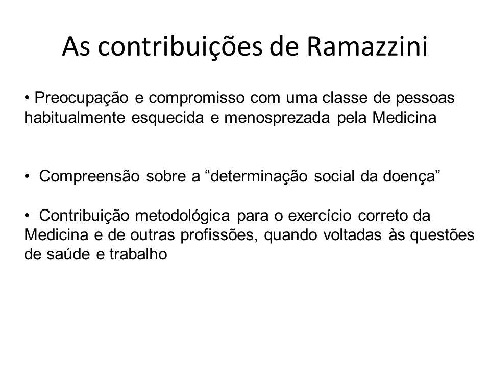 As contribuições de Ramazzini Preocupação e compromisso com uma classe de pessoas habitualmente esquecida e menosprezada pela Medicina Compreensão sob