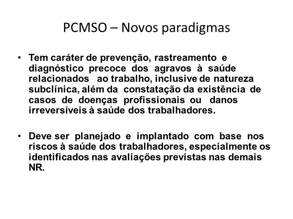 PCMSO – Novos paradigmas Tem caráter de prevenção, rastreamento e diagnóstico precoce dos agravos à saúde relacionados ao trabalho, inclusive de natur