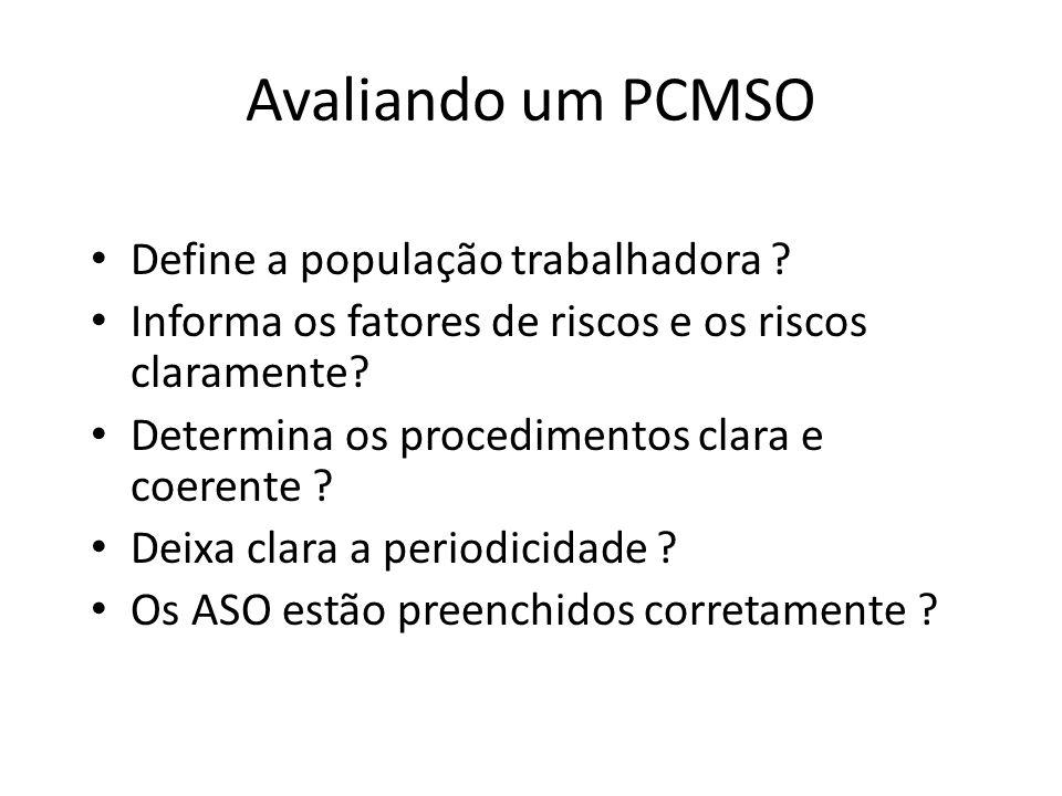 Avaliando um PCMSO Define a população trabalhadora ? Informa os fatores de riscos e os riscos claramente? Determina os procedimentos clara e coerente
