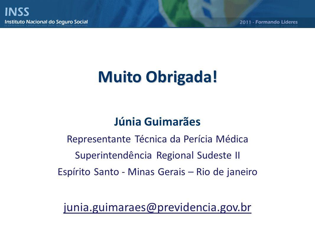 Muito Obrigada! Júnia Guimarães Representante Técnica da Perícia Médica Superintendência Regional Sudeste II Espírito Santo - Minas Gerais – Rio de ja