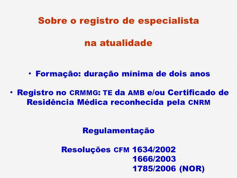 Sobre o registro de especialista na atualidade Formação: duração mínima de dois anos Registro no CRMMG : TE da AMB e/ou Certificado de Residência Médi