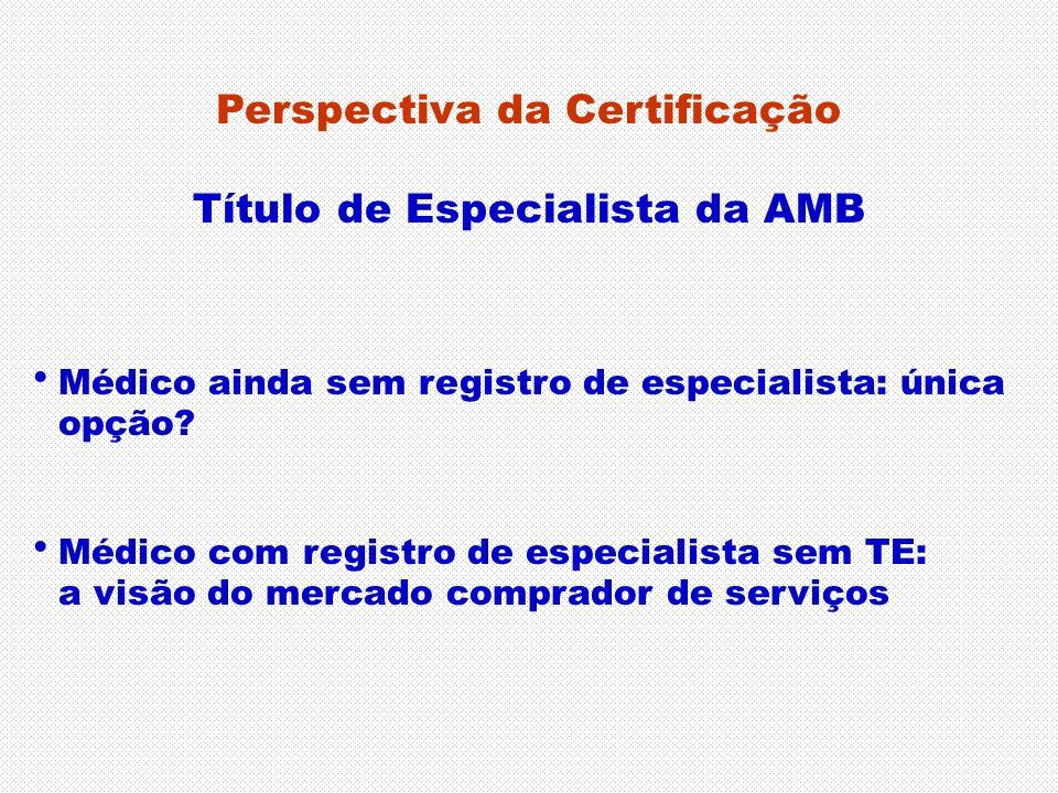 Perspectiva da Certificação Título de Especialista da AMB Médico ainda sem registro de especialista: única opção? Médico com registro de especialista