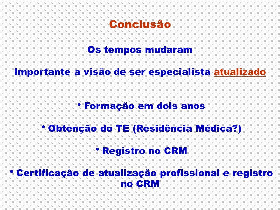 Conclusão Os tempos mudaram Importante a visão de ser especialista atualizado Formação em dois anos Obtenção do TE (Residência Médica?) Registro no CR