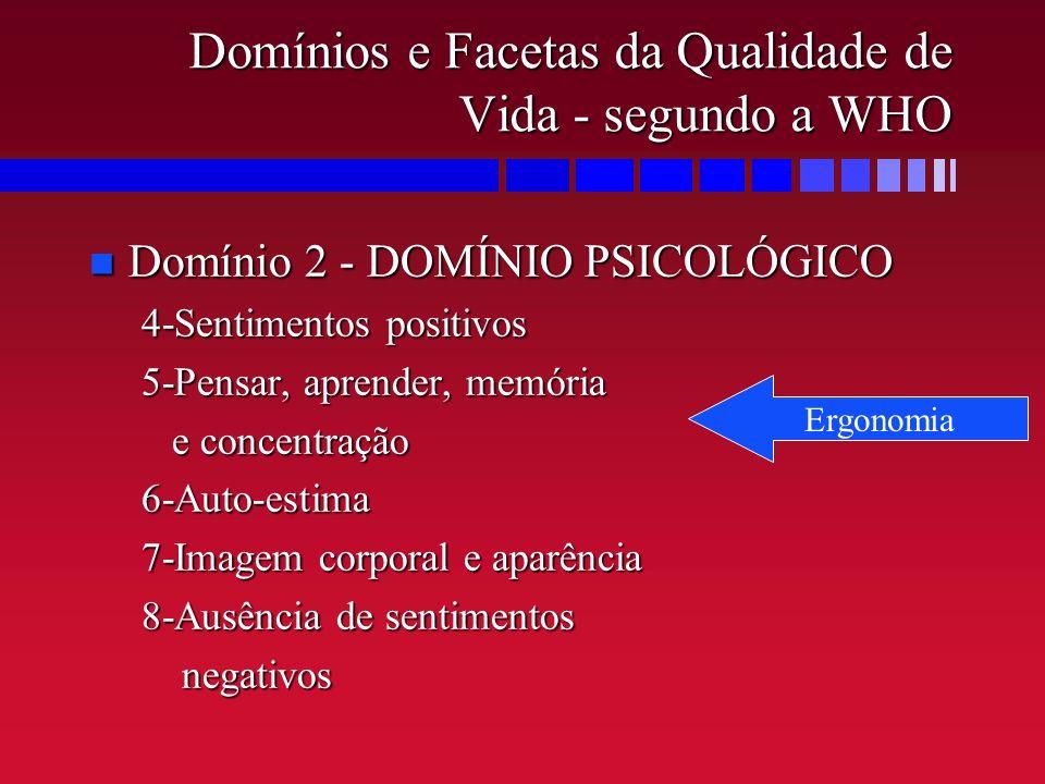 Domínios e Facetas da Qualidade de Vida - segundo a WHO n Domínio 2 - DOMÍNIO PSICOLÓGICO 4-Sentimentos positivos 5-Pensar, aprender, memória e concen