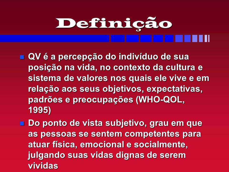 Definição QV é a percepção do indivíduo de sua posição na vida, no contexto da cultura e sistema de valores nos quais ele vive e em relação aos seus o