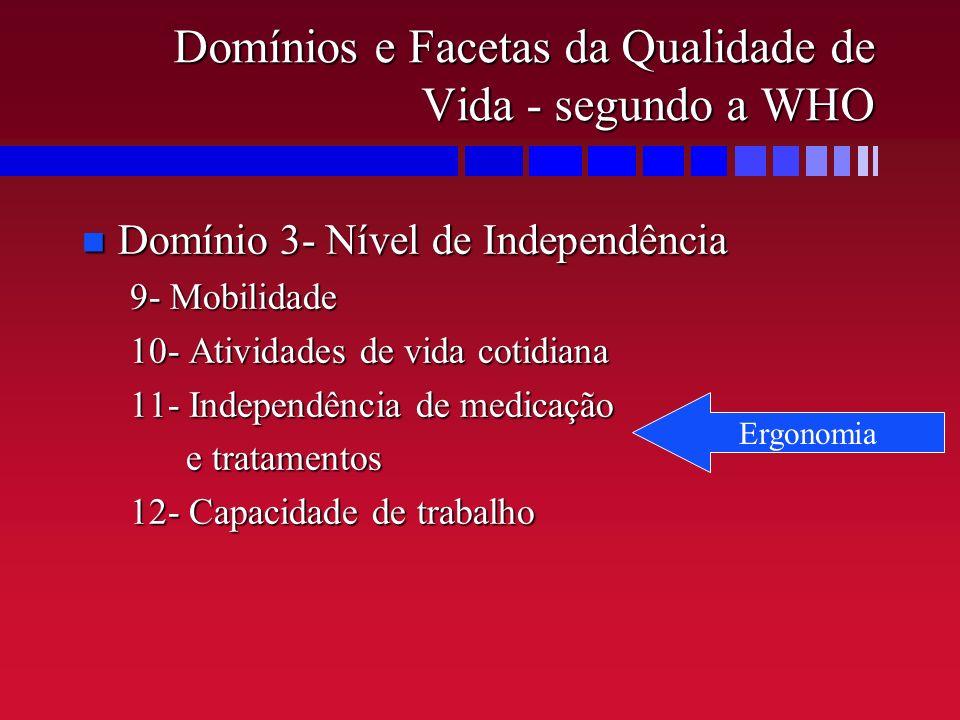 Domínios e Facetas da Qualidade de Vida - segundo a WHO n Domínio 3- Nível de Independência 9- Mobilidade 10- Atividades de vida cotidiana 11- Indepen